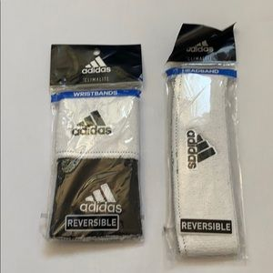 Adidas reversible headband and wristband bundle